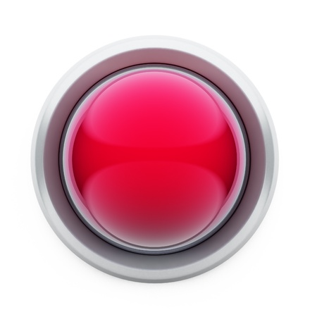 alerts: A 3D illustration of a red button isolated on white background.
