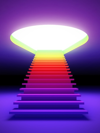 A 3d illustration of a colorful stair to the future.