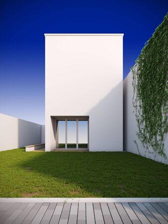 blue facades sky: A 3D illustration of modern house in minimalist style.