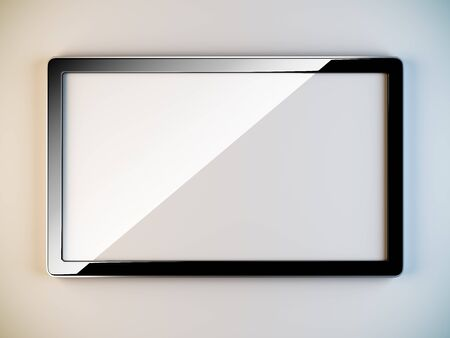 lcd display: A 3D illustration of empty black plastic frame. Stock Photo