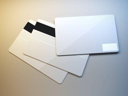 A 3d illustration of plastic credit cards. illustration