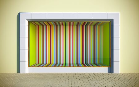 3D illustration of colorful showcase.