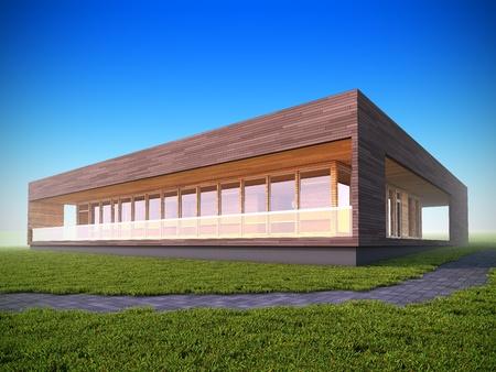 3D illustration of ecological modern wood house. illustration