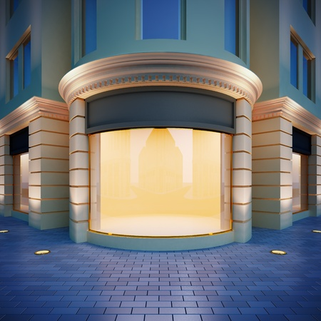 boutiques: 3D illustration showcase in classical style . Evening view.
