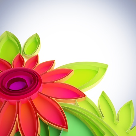 3D illustration of colorful flower in quilling techniques.