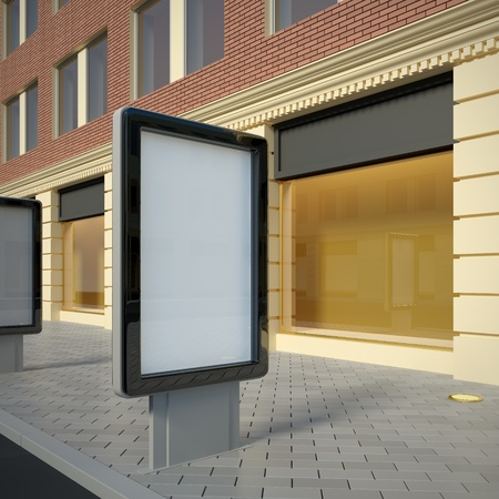 storefront: 3D illustration of citylight in the downtown. Street view.