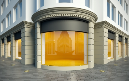 window display: 3D illustration showcase in classical style. Day view.