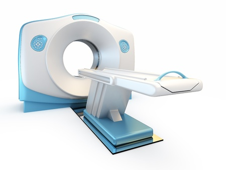 devices: A 3D illustration of a MRI(Magnetic Resonance Imaging) scanner, isolated on white background. Stock Photo