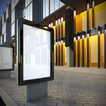 3D Abbildung der Citylight in der Innenstadt. Blick auf die Straße. Standard-Bild - 10193888