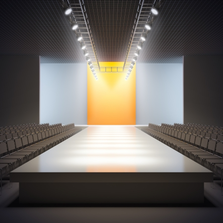 show: A 3D illustration of fashion empty runway. Stock Photo