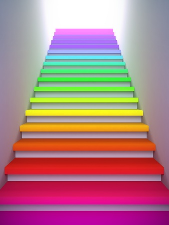 step up: A 3d illustration of a colorful stair to the future.