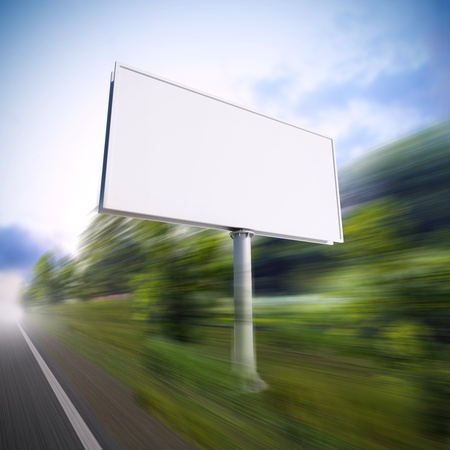 A 3d illustration of blank white billboard on the highway.