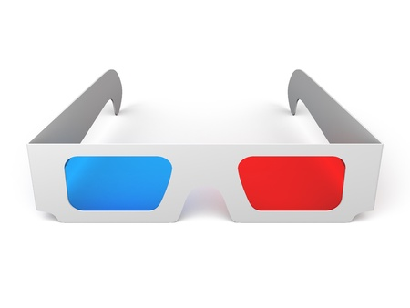 A 3d illustration of a 3D glasses at white background. Imagens
