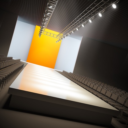 light show: A 3D illustration of fashion empty runway. Stock Photo