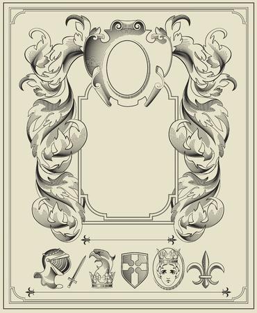 armorial: Heraldic elements.