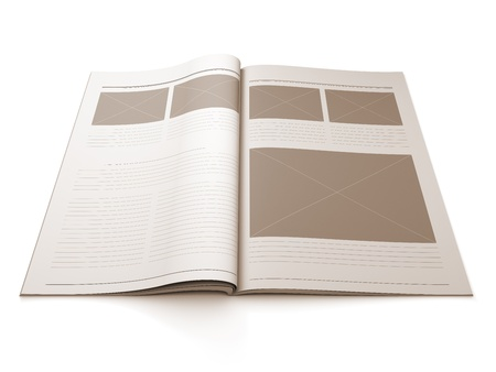 A 3d illustration of a Magazine blank page for design layout illustration.