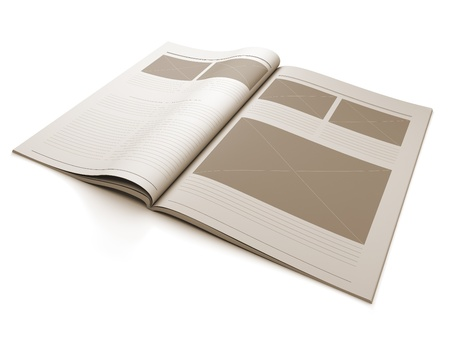 page layout: A 3d illustration of a Magazine blank page for design layout illustration.