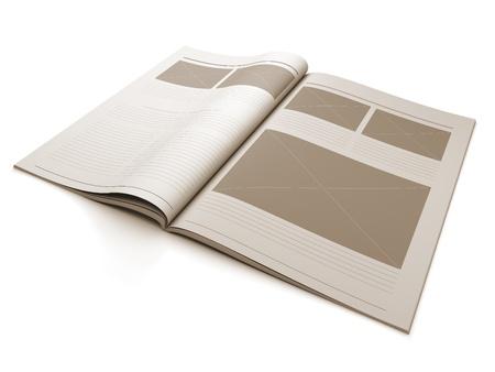 Een 3D-afbeelding van een lege pagina Magazine voor het ontwerp lay-out illustratie. Stockfoto - 10879340