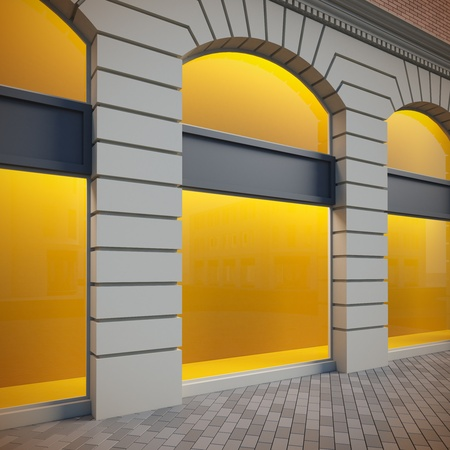 storefront: A 3d illustration of classical empty showcase.