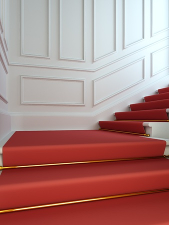 A 3D illustration of a classical staircase with a red carpet. illustration