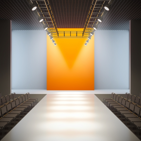 empty stage: A 3D illustration of fashion empty runway. Stock Photo