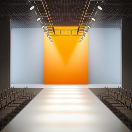 A 3D illustration of fashion empty runway. Stockfoto