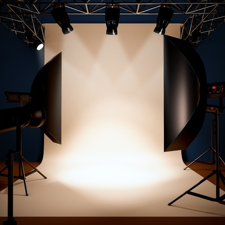 studio shoot: A 3d illustration of a photo studio background template.