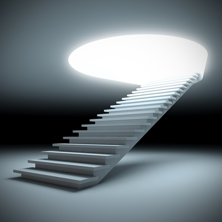 rise to the top: A 3d illustration of a stair to the future. Stock Photo