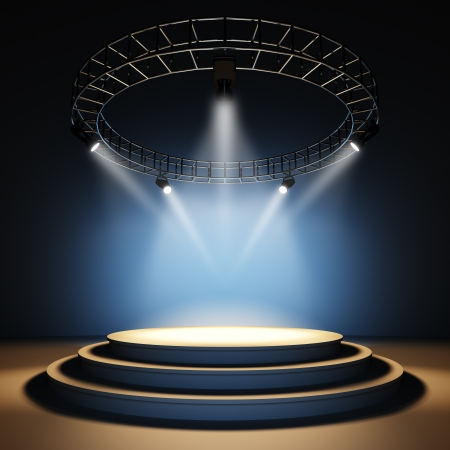 light beams: A 3d illustration of an empty stage.