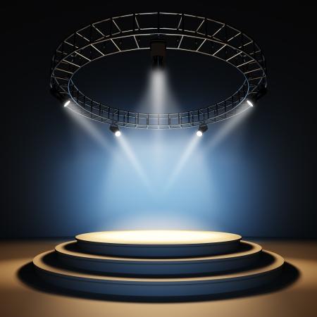 Een 3D-afbeelding van een leeg toneel. Stockfoto