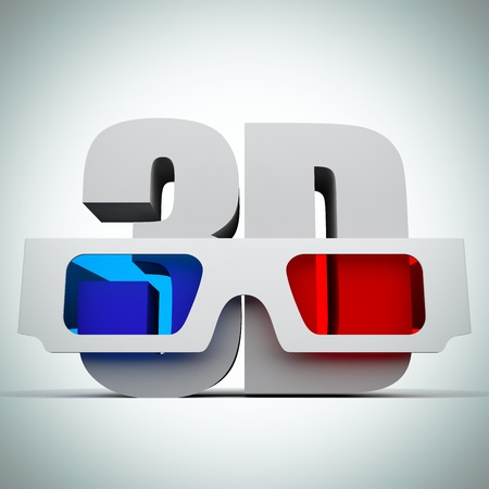 visual effect: A 3d illustration of a 3D glasses. Background.