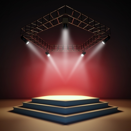 spotlight on stage: A 3d illustration of an empty stage.