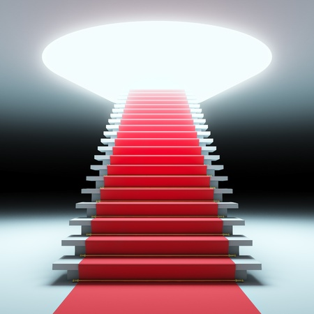 A 3d illustration of red carpet to the future. Stockfoto