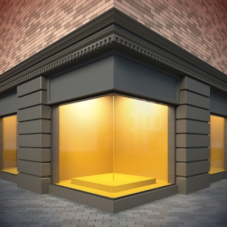 shop front: 3D illustration showcase in classical style. Day view.