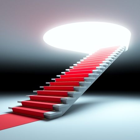 A 3d illustration of red carpet to the future. Banco de Imagens