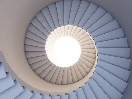 spiral stairway: A 3d illustration of stair to the future. Background.