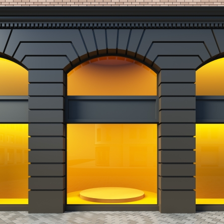 shop show window: A 3D illustration blank template showcase in classical style. Stock Photo