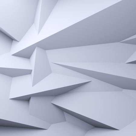 A 3d illustration of blank faceted white background.