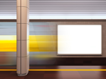 citylight: A 3d illustration of blank template billboard at subway station.