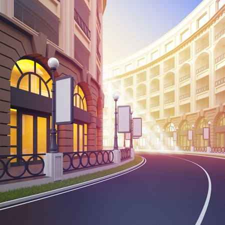 A 3d illustration of idyllic street retail with blank template billboards. Banco de Imagens