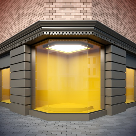 storefront: A 3D illustration of corner  showcase in classical style.