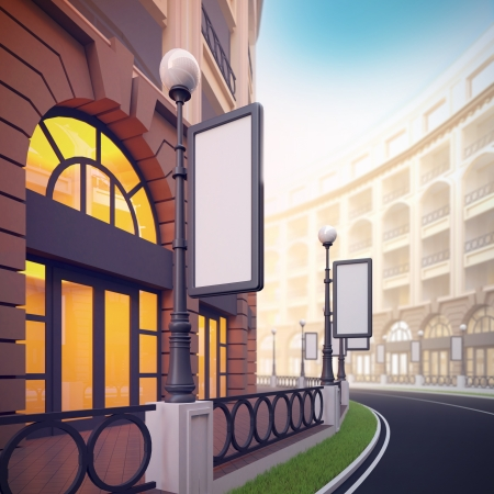 A 3d illustration of retail street with blank template billboards.