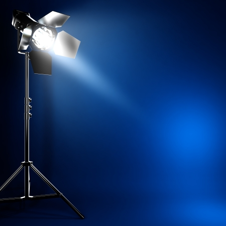 A 3D illustration of studio photo flash light with beam of light. Imagens