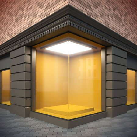 A 3d illustration of blank template corner showcase. illustration