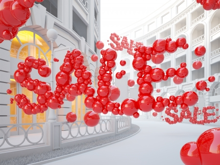 A 3d illustration of retail street with Sale word consist of bubbles.