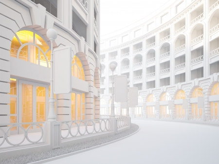 A 3d illustration of atmospheric empty street of retail stores. Stockfoto