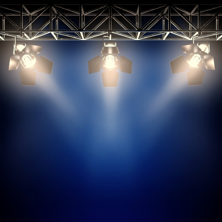 A 3d illustration of backstage spotlights.