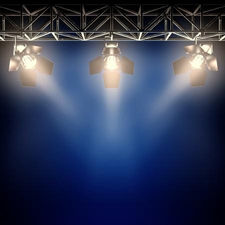 air show: A 3d illustration of backstage spotlights.