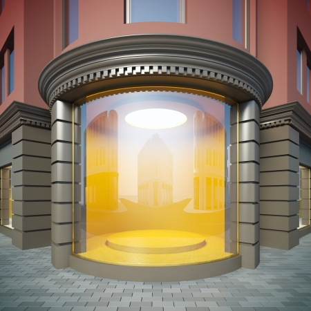 vitrine: A 3D illustration of corner empty showcase in classical style.