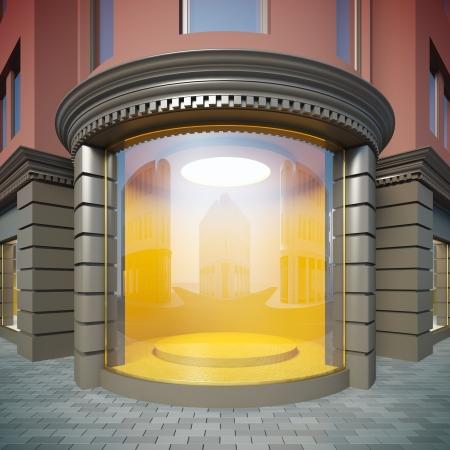 Eine 3D-Darstellung der Ecke leere Schaufenster im klassischen Stil. Standard-Bild - 15076607